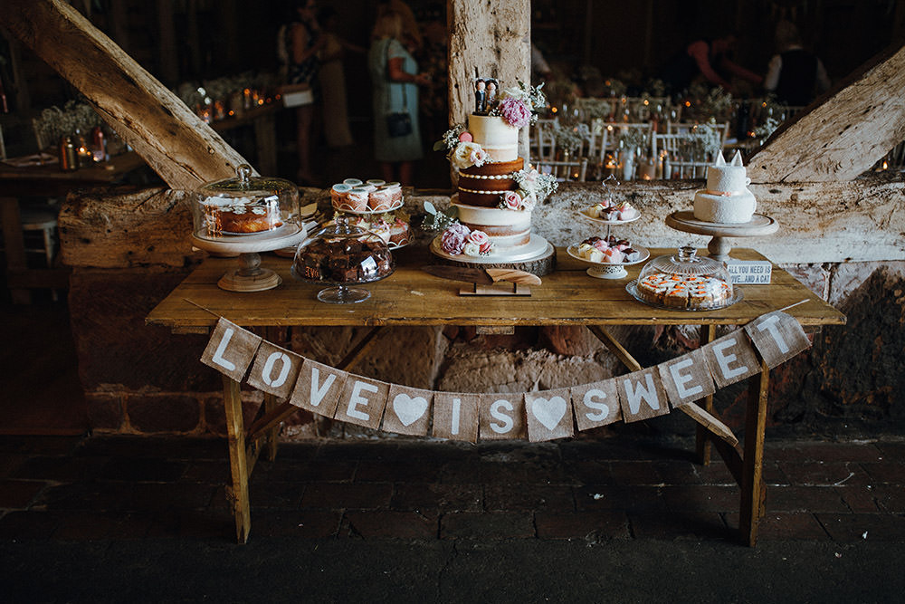 Dessert Cake Table Treats Bunting Sign Pimhill Barn Wedding Shrophire Leah Lombardi Photography