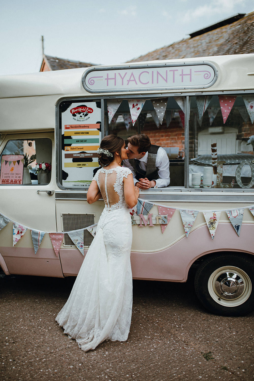 Ice Cream Van Pink Bride Groom Pimhill Barn Wedding Shrophire Leah Lombardi Photography