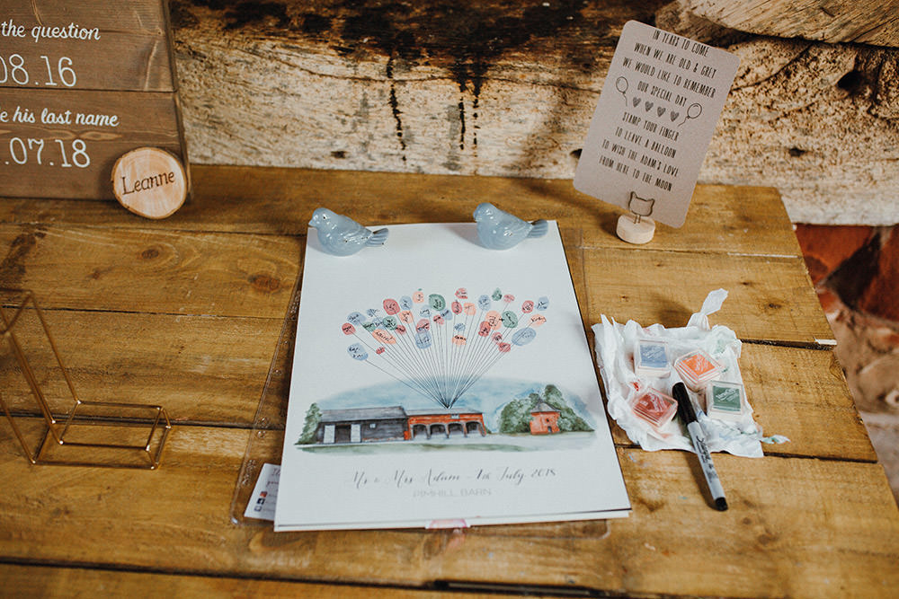 Finger Print Guest Book Pimhill Barn Wedding Shrophire Leah Lombardi Photography