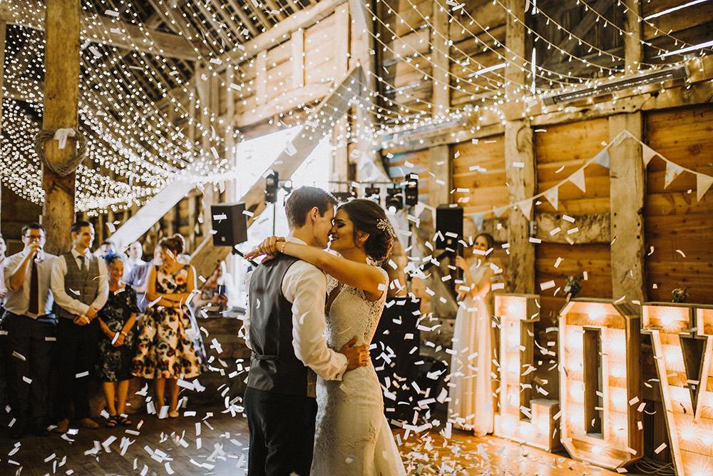 Confetti First Dance Floor Pimhill Barn Wedding Shrophire Leah Lombardi Photography