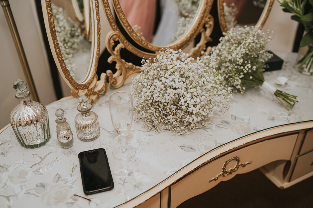 Outdoor Natural Relaxed Laid Back Summer White Dress Bridal Morning Prep Gypsophila Bridesmaids Bouquets | Prested Hall Wedding Grace Elizabeth Photography