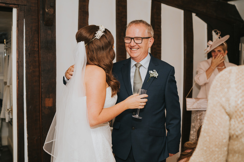 Outdoor Natural Relaxed Laid Back Summer White Dress Bridal Morning Prep Gypsophila Crown Father First Look | Prested Hall Wedding Grace Elizabeth Photography
