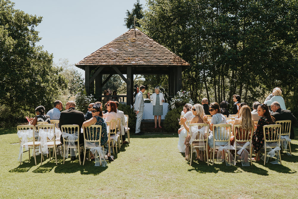 Intimate Outdoor Natural Relaxed Laid Back Summer Gazebo Ceremony Aisle | Prested Hall Wedding Grace Elizabeth Photography