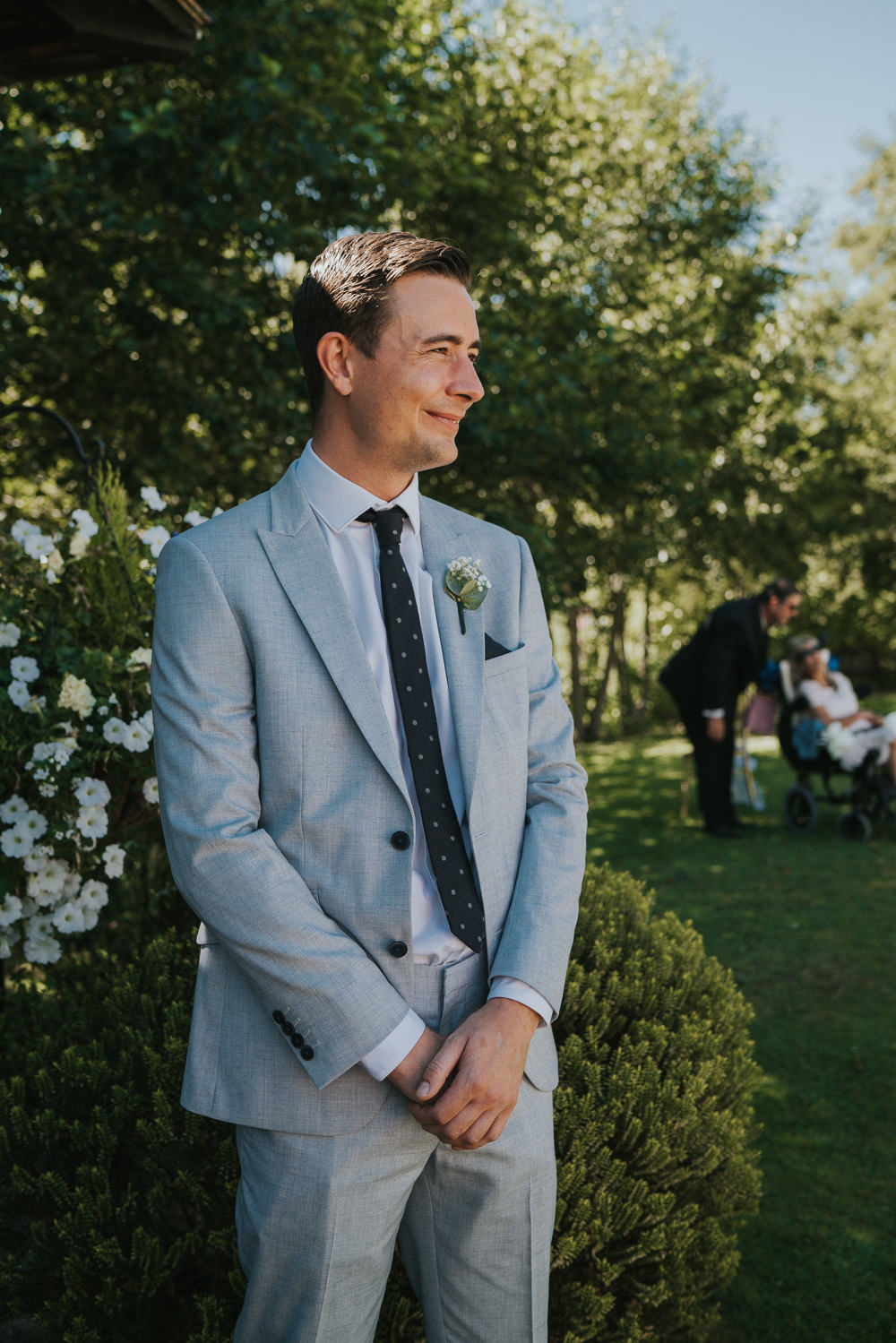Intimate Outdoor Natural Relaxed Laid Back Summer Gazebo Ceremony Aisle Groom Grey Suit | Prested Hall Wedding Grace Elizabeth Photography