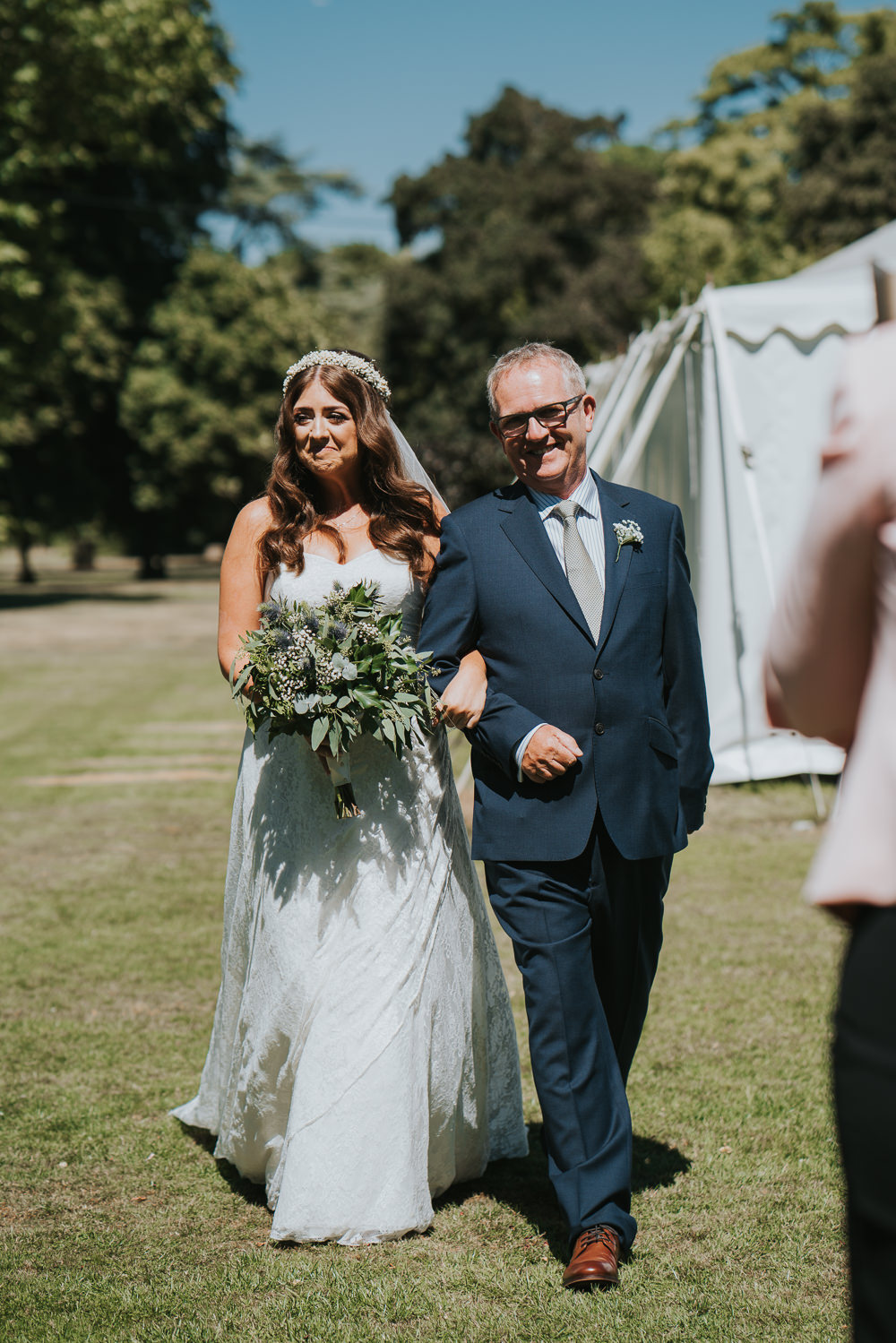 Intimate Outdoor Natural Relaxed Laid Back Summer Gazebo Ceremony Aisle Bride Father Foliage Greenery Bouquet | Prested Hall Wedding Grace Elizabeth Photography