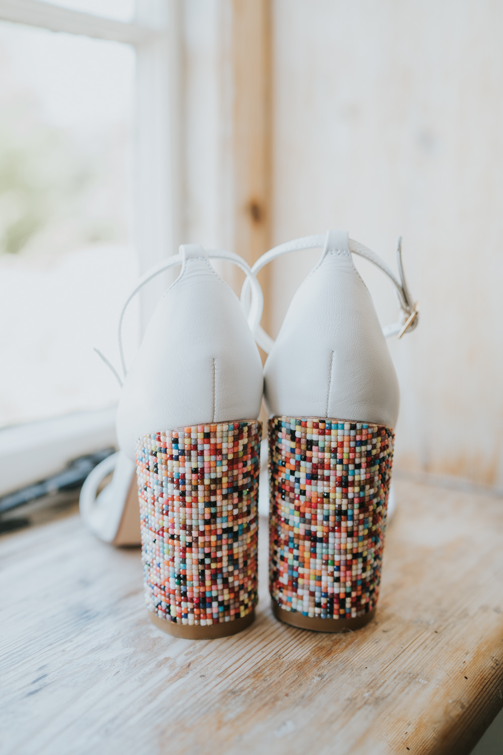 Outdoor Natural Relaxed Laid Back Summer White Dress Bridal Colorful Shoes Morning Bride Prep | Prested Hall Wedding Grace Elizabeth Photography