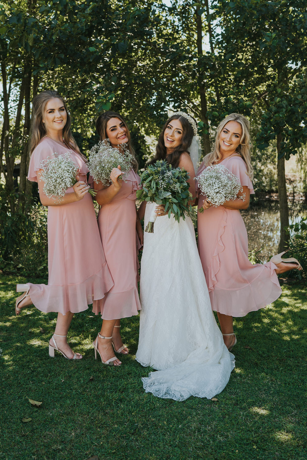Intimate Outdoor Natural Relaxed Laid Back Summer Bride Blush Pink Bridesmaids Gypsophila White Green Bouquet | Prested Hall Wedding Grace Elizabeth Photography