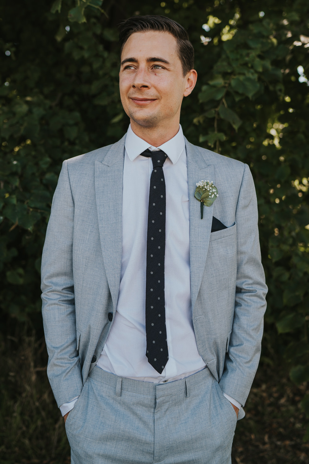 Intimate Outdoor Natural Relaxed Laid Back Summer Groom Grey Suit | Prested Hall Wedding Grace Elizabeth Photography