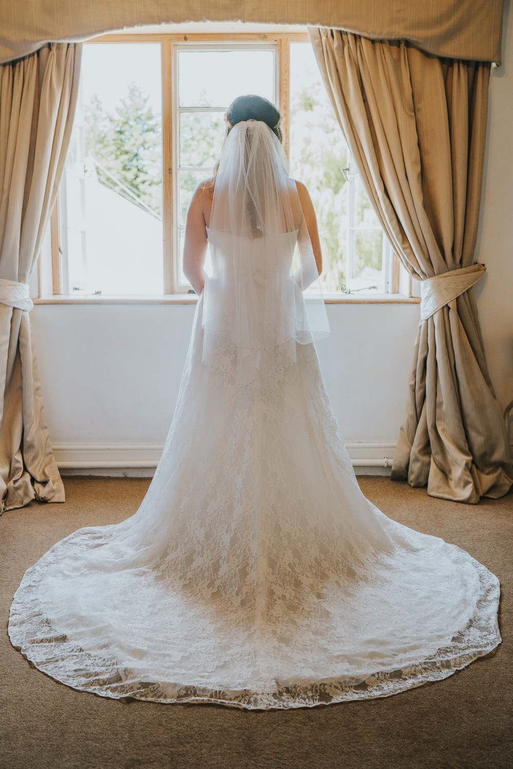 Outdoor Natural Relaxed Laid Back Summer White Dress Bridal Morning Prep Veil Train | Prested Hall Wedding Grace Elizabeth Photography