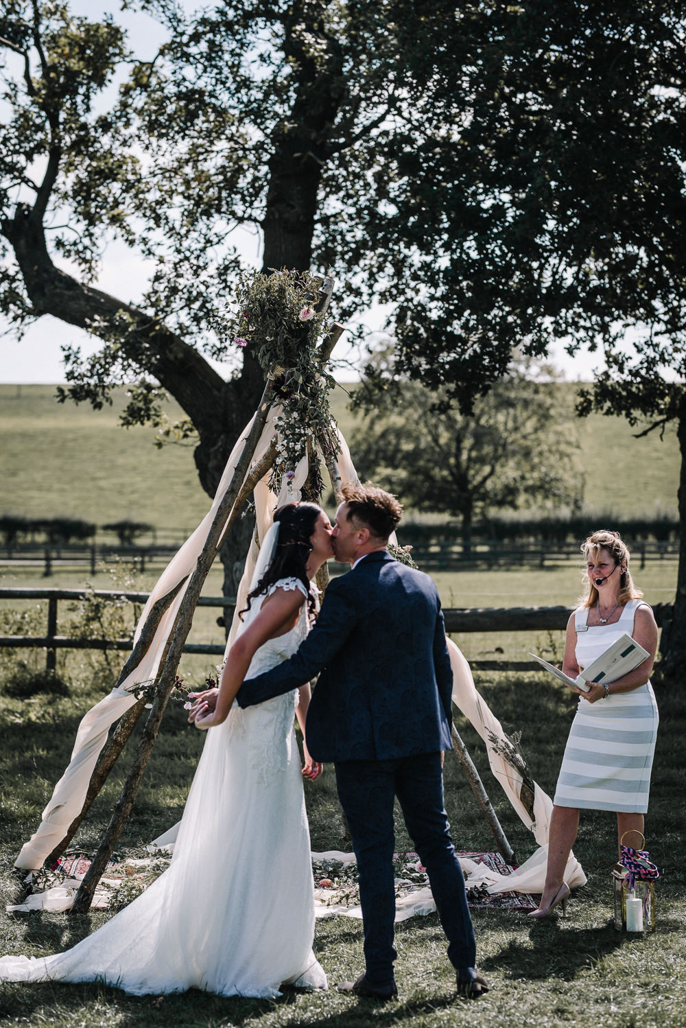 Ceremony Naked Tipi Backdrop Wooden Alcott Weddings Oobaloos Photography