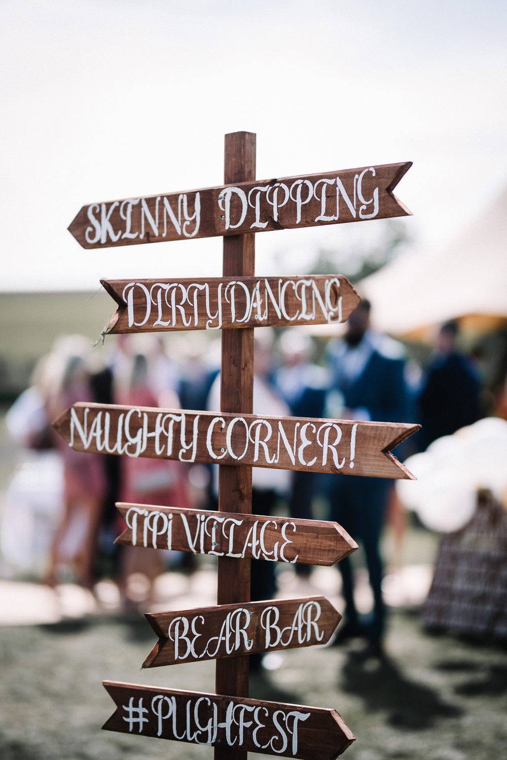 Festival Sign Signage Wooden Signpost Alcott Weddings Oobaloos Photography