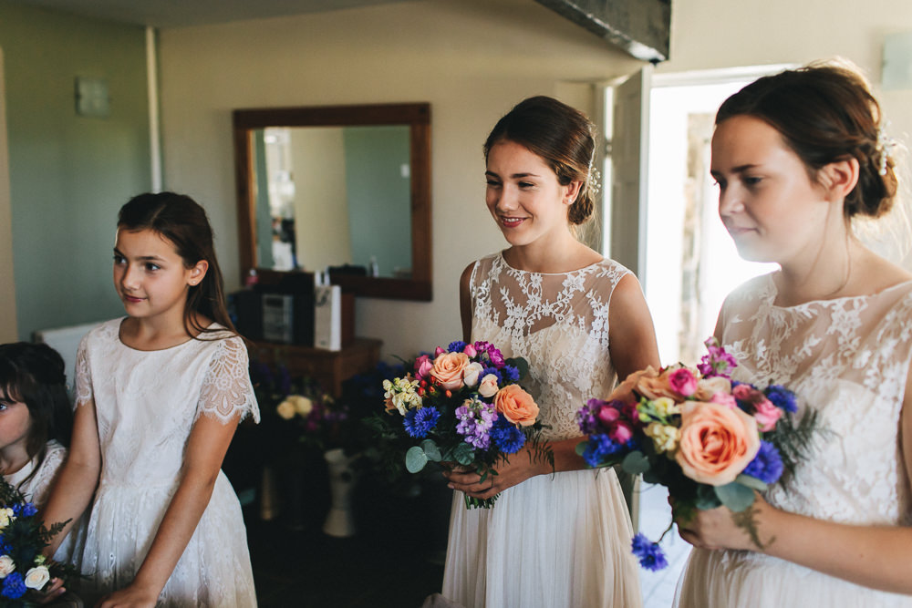 Bridesmaids Lace Sleeveless Multicoloured Bouquet Bach Wen Farm Wedding Jessica O'Shaughnessy Photography