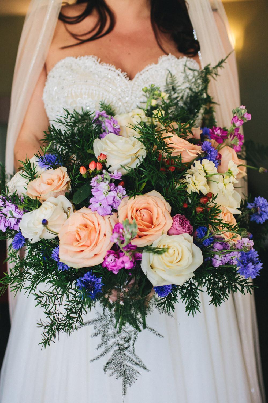 Bride Bridal Bouquet Thistle Greenery Peach Cream Rose Violets Bach Wen Farm Wedding Jessica O'Shaughnessy Photography