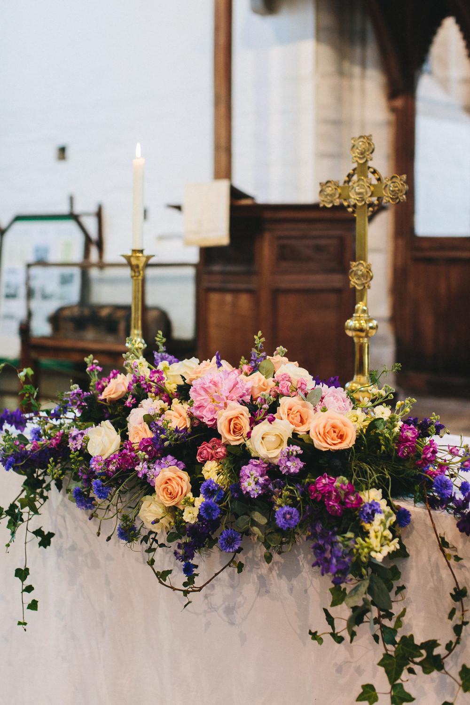 Altar Floral Arrangement Peach Pink Roses Purple Bach Wen Farm Wedding Jessica O'Shaughnessy Photography