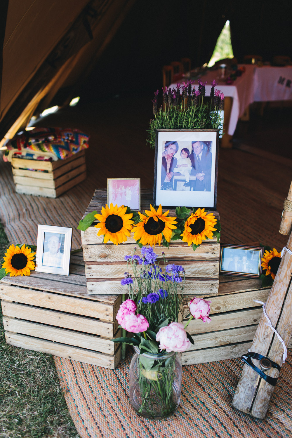 Wooden Crates Sunflower Photographs Violet Flowers Floral Bach Wen Farm Wedding Jessica O'Shaughnessy Photography