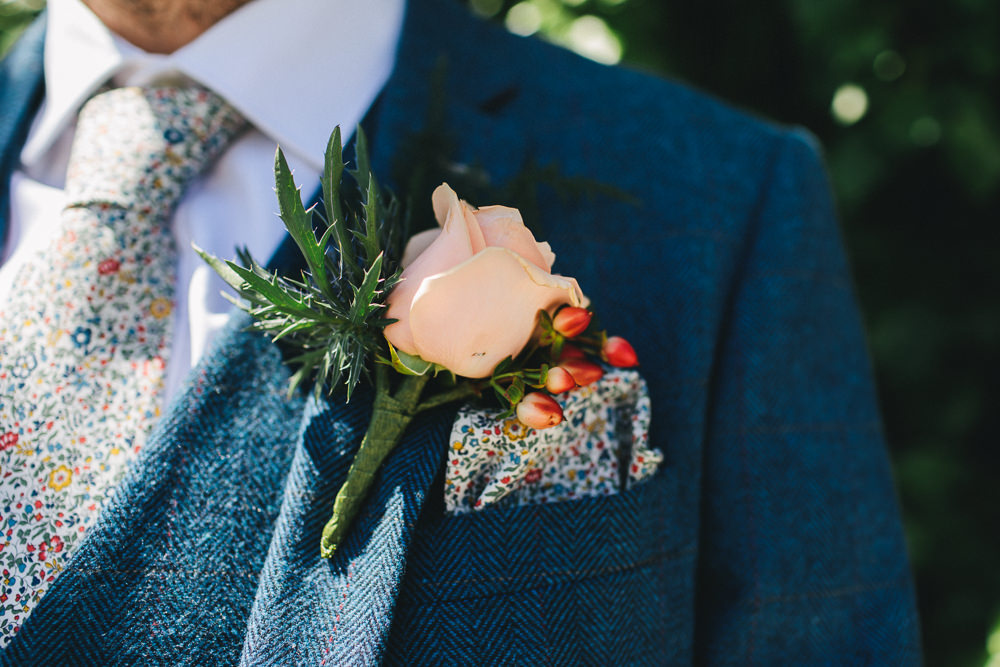 Peach Rose Thistle Buttonhole Paisley Pocket Square Bach Wen Farm Wedding Jessica O'Shaughnessy Photography