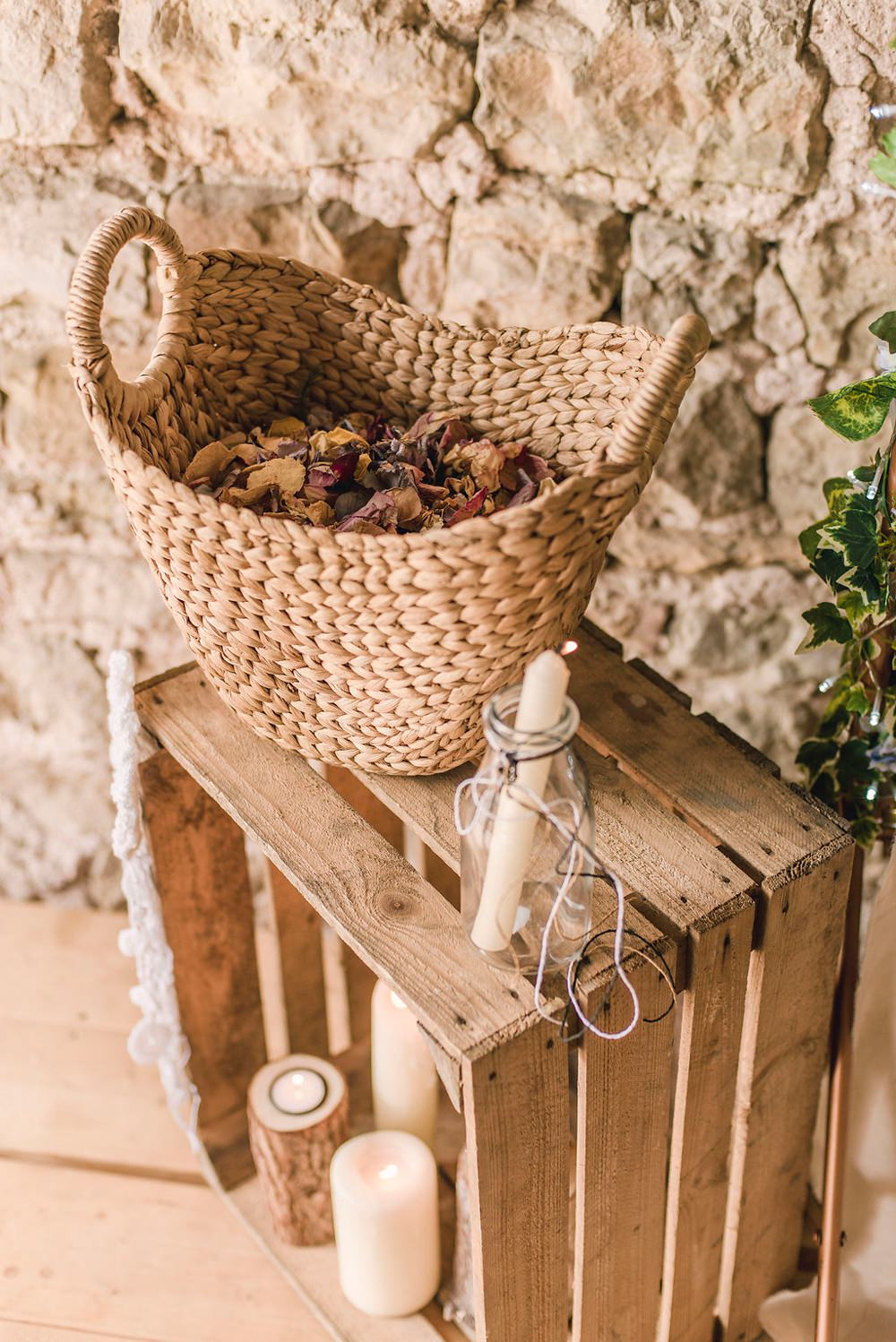 Decor Wooden Crate Petals Candles Basket Boho Woodland Wedding Ideas Camp Katur Emily Olivia Photography