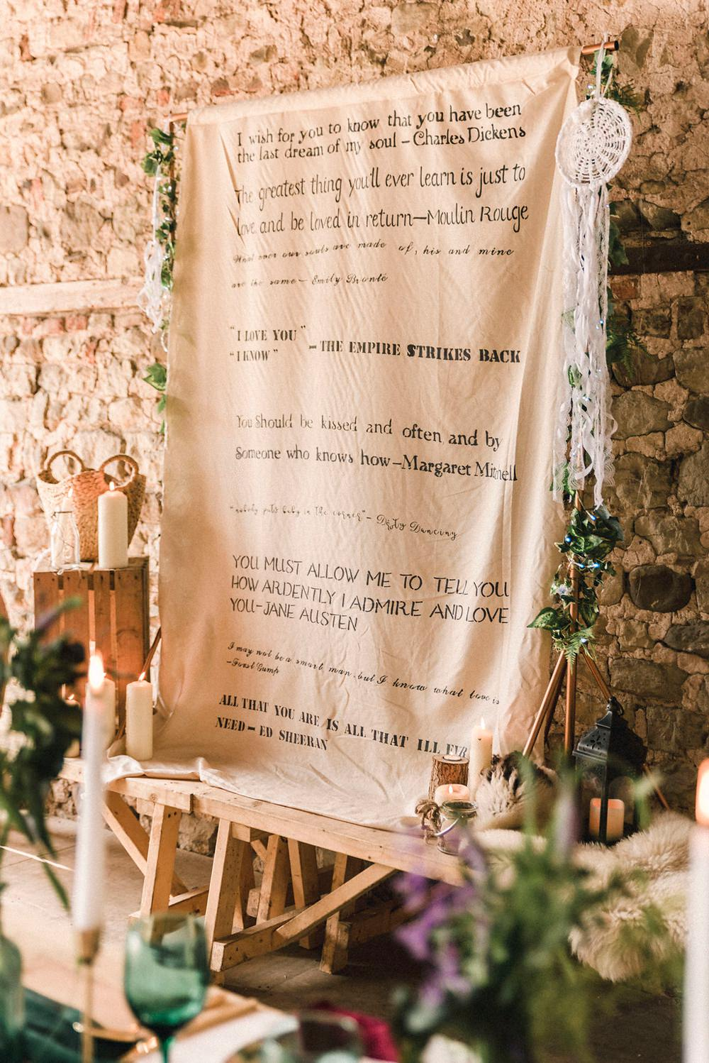 Fabric Banner Words Qoutes Backdrop Sign Boho Woodland Wedding Ideas Camp Katur Emily Olivia Photography