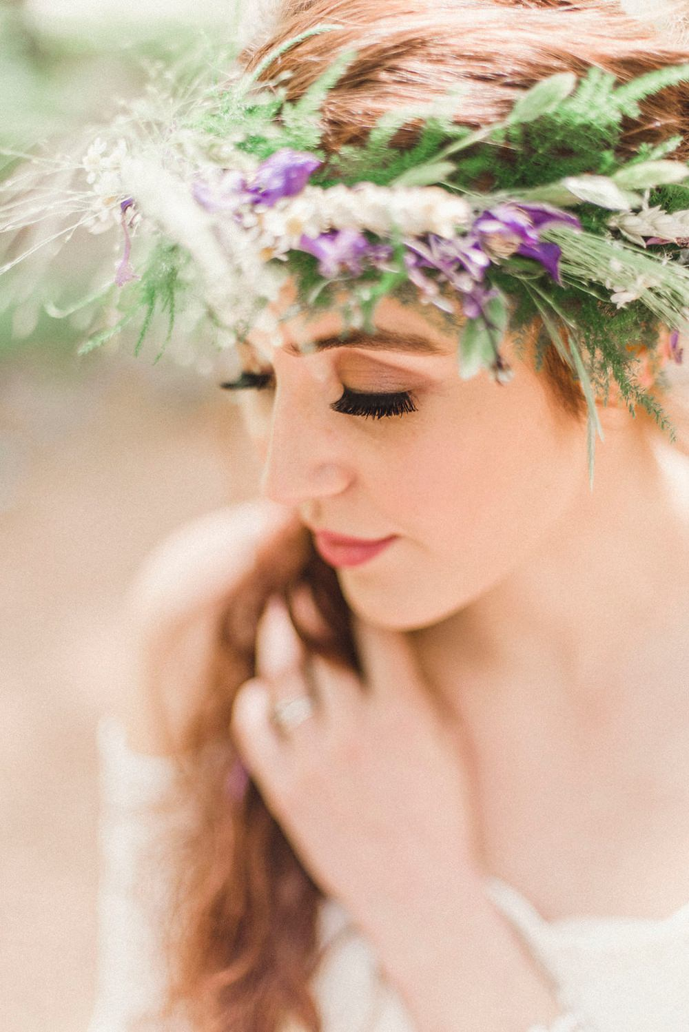 Flower Crown Bride Bridal Greenery Foliage Boho Woodland Wedding Ideas Camp Katur Emily Olivia Photography
