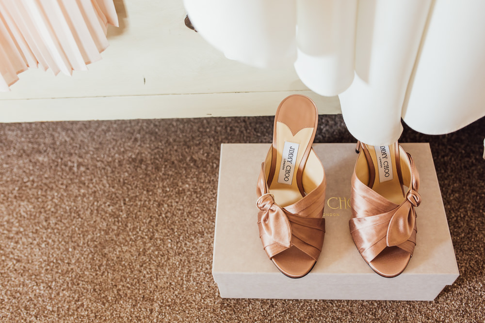 Bride Bridal Jimmy Choos Pink Mules Shoes Celestial Country Wedding Florence Fox Photography