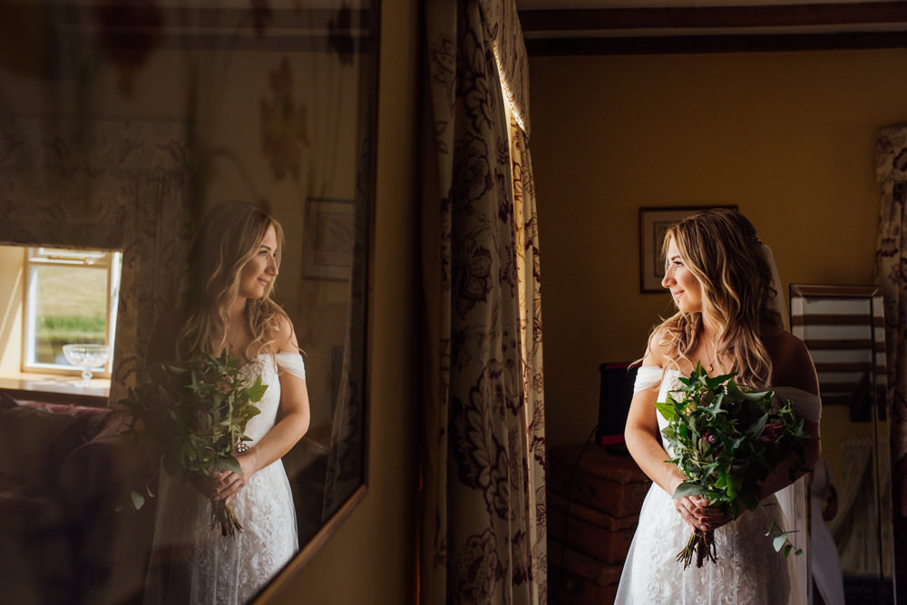 Bride Bridal Wedding Dress Off Shoulder Strapless Lace Veil Celestial Country Wedding Florence Fox Photography