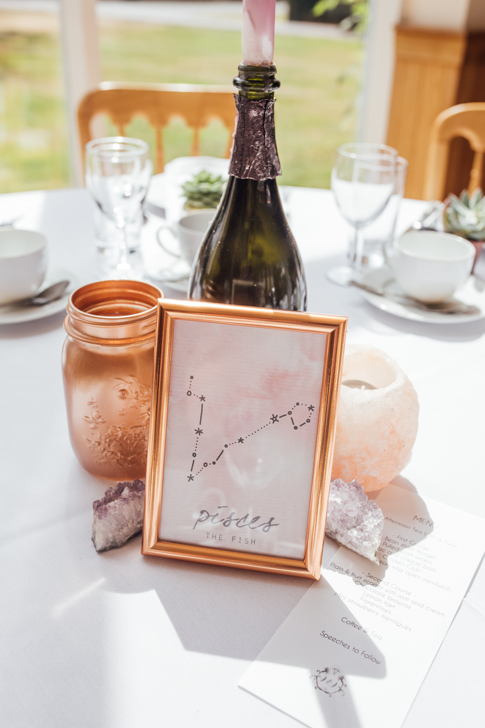 Table Name Number Constellation Copper Centre Celestial Country Wedding Florence Fox Photography