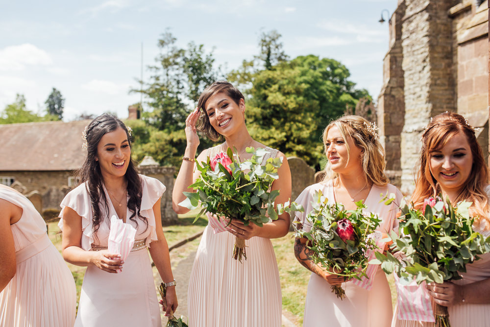 Pink Blush Bridesmaids Mismatched Greenery Foliage Bouquets Celestial Country Wedding Florence Fox Photography