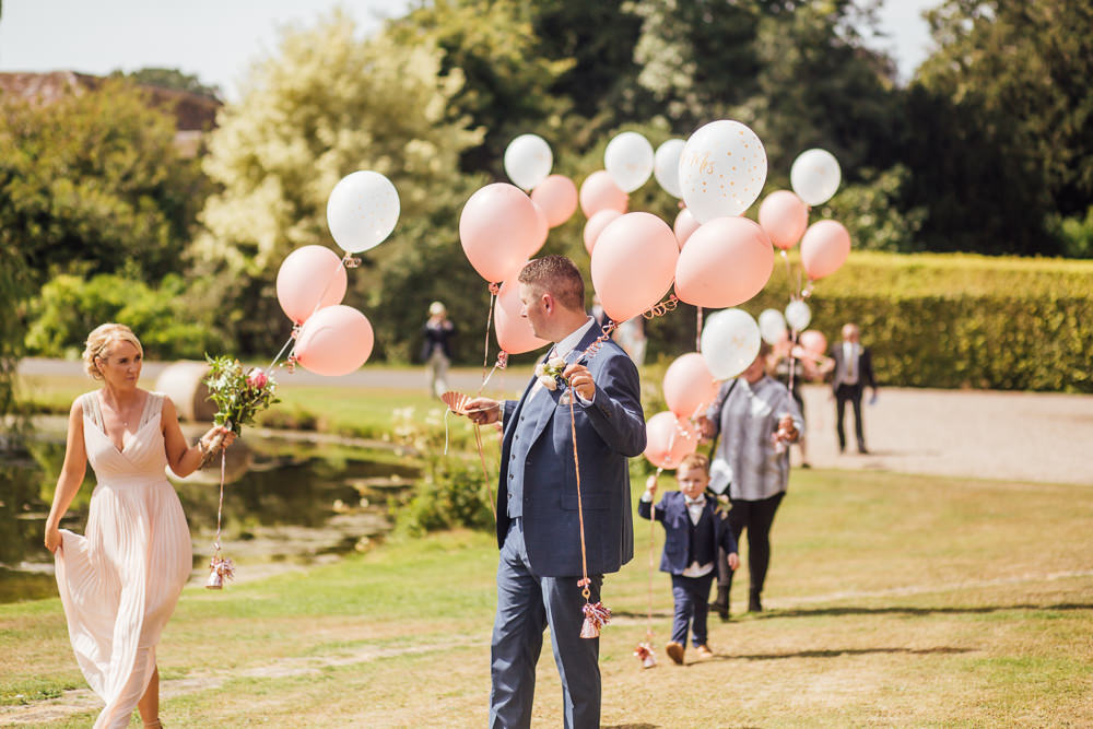 Pink Blush Bridesmaid Groomsman Navy Suit Pink White Balloons Celestial Country Wedding Florence Fox Photography