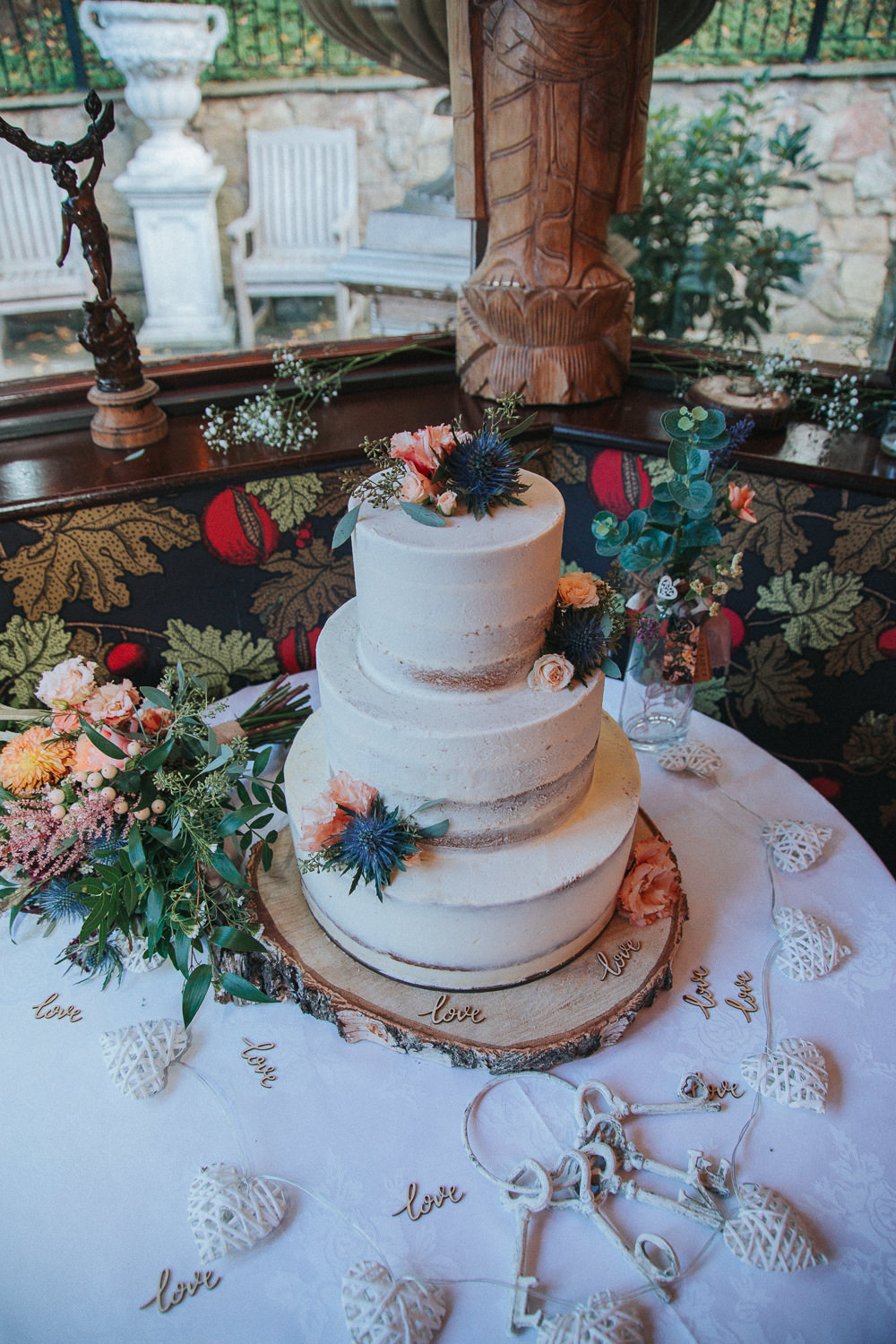 Cake Flowers Buttercream Semi Naked Log Stand Crab Lobster Wedding A Little Picture
