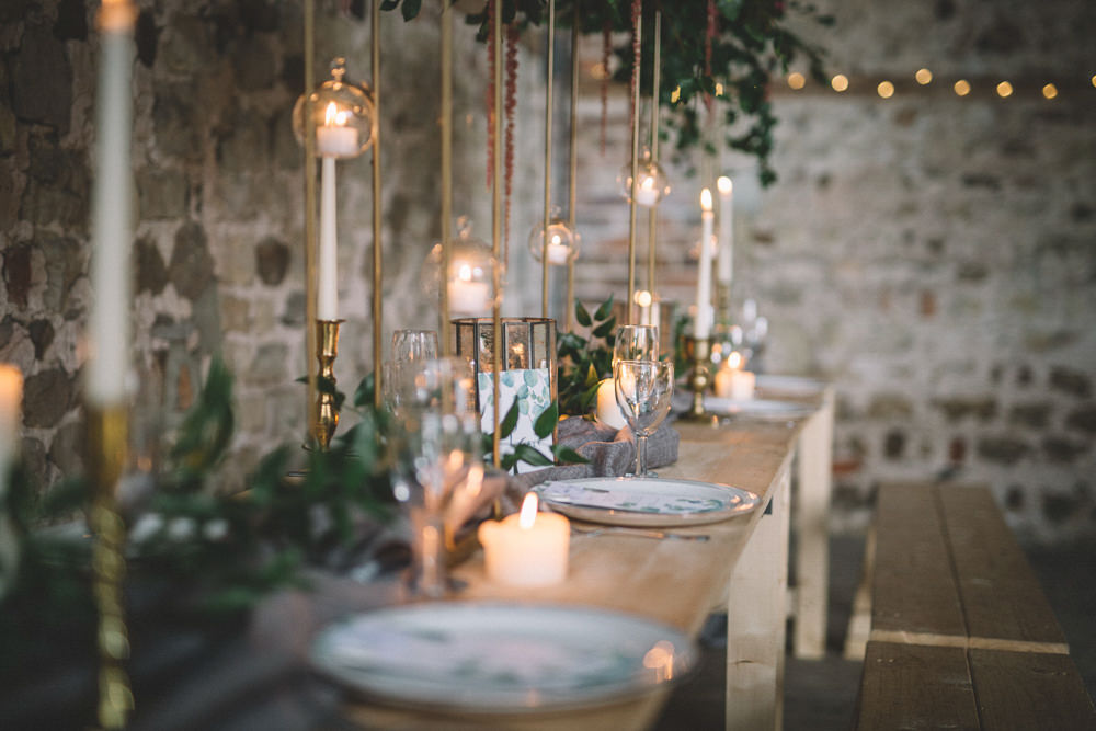 Table Tablescape Flowers Tall High Suspended Hanging Gold Greenery Foliage Coral Peony Peonies Candles Runner Free Spirited Wedding Ideas Woodland Lumiere Photographic