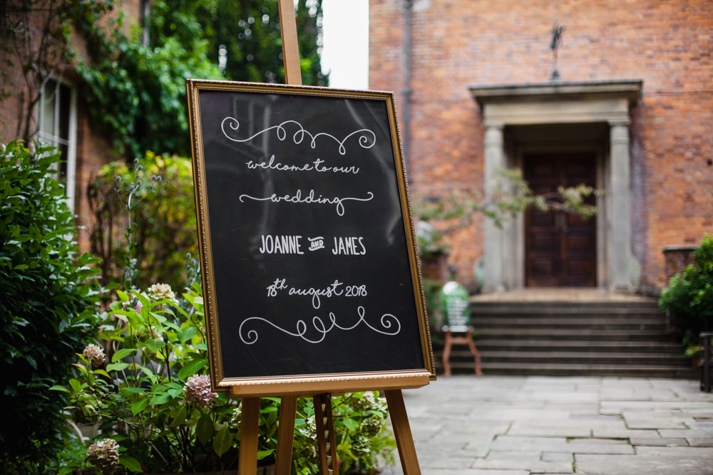 Welcome Sign Board Black Chalk Fun Laughter Relaxed Wedding Chris Barber Photography