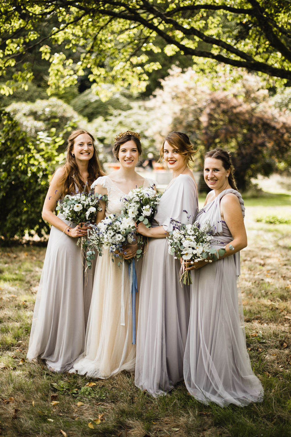 Bridesmaids Long Maxi Dresses Lilac Purple Grey Fun Laughter Relaxed Wedding Chris Barber Photography