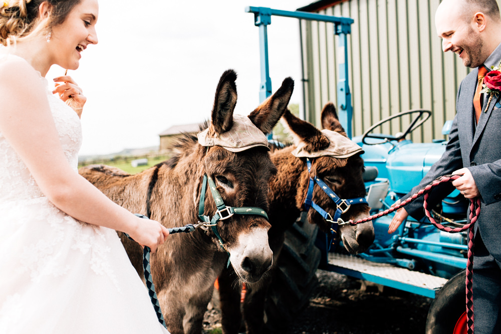 Bride Bridal Lace Tulle Full Skirt Sweetheart Illusion Navy Suit Orange Tie Groom Donkeys Fun Quirky Colourful Wedding Fairclough Studios