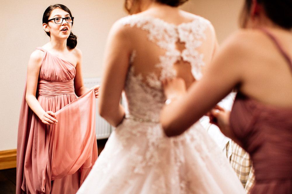 Bride Bridal Pink Multiway Dress Young Bridesmaid Fun Quirky Colourful Wedding Fairclough Studios
