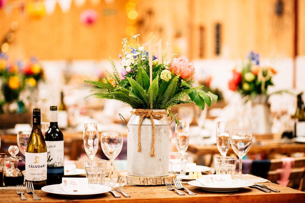 Milk Churn Flower Arrangement Florals Multicolour Fun Quirky Colourful Wedding Fairclough Studios