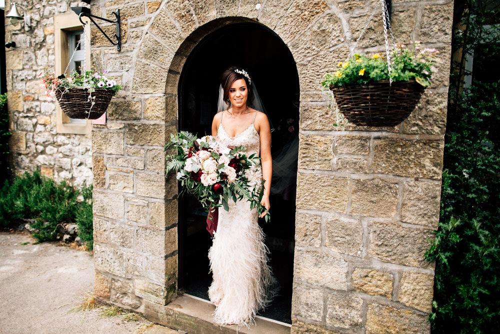 Dress Gown Bride Bridal Enzonai Feathers Veil Skirt Gamekeepers Inn Wedding Fairclough Studios