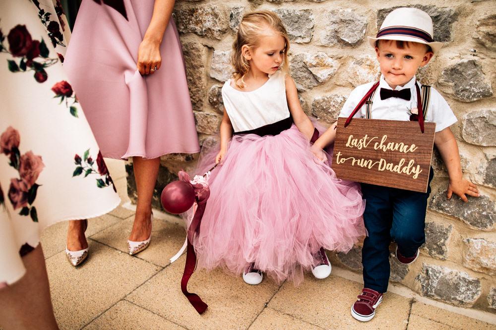 Page Boy Hat Bow Tie Braces Sign Flower Girl Pink Tutu Gamekeepers Inn Wedding Fairclough Studios
