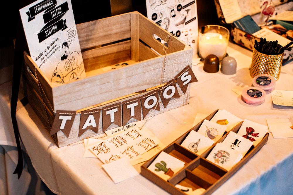Temporary Tattoo Station Bar Gamekeepers Inn Wedding Fairclough Studios