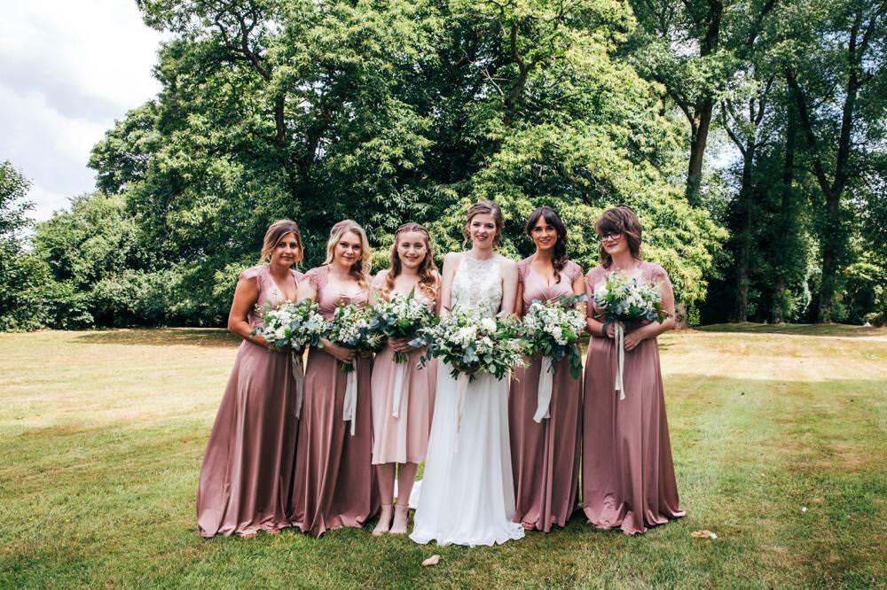 Dusky Pink Long Maxi Bridesmaid Dresses Long Barn Wedding Three Flowers Photography