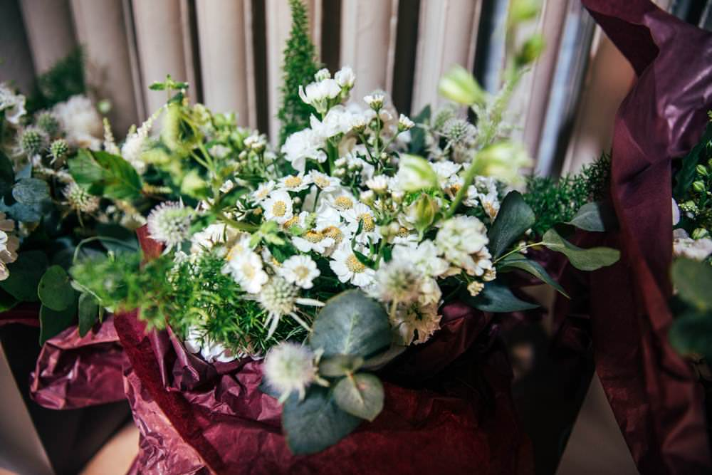 Bouquet Flowers Bride Bridal Thistle Greenery Foliage Long Barn Wedding Three Flowers Photography