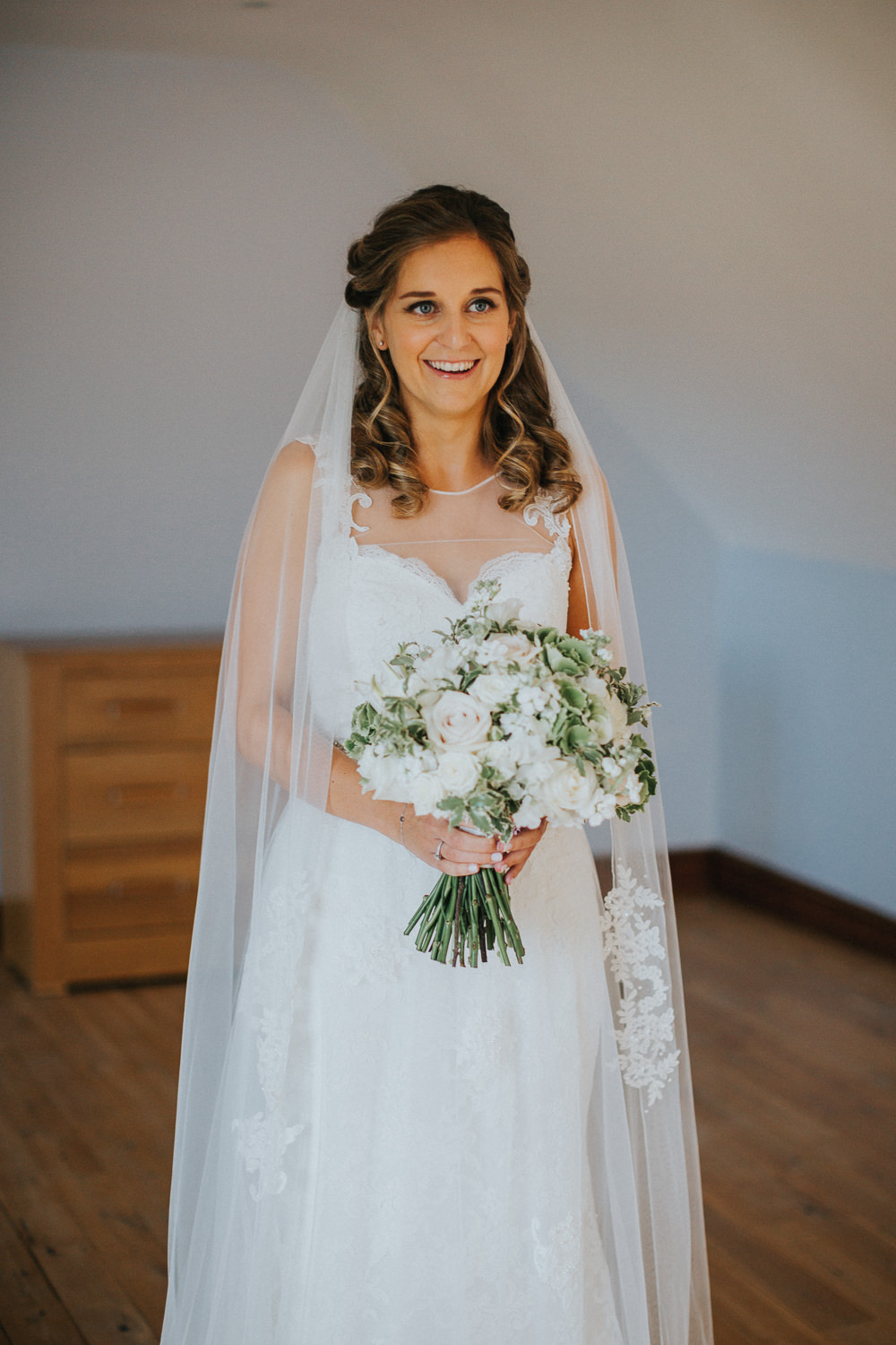 Bride Bridal Sleeveless Embroidered Blush White Greenery Bouquet Veil Loseley Park Wedding Kit Myers Photography