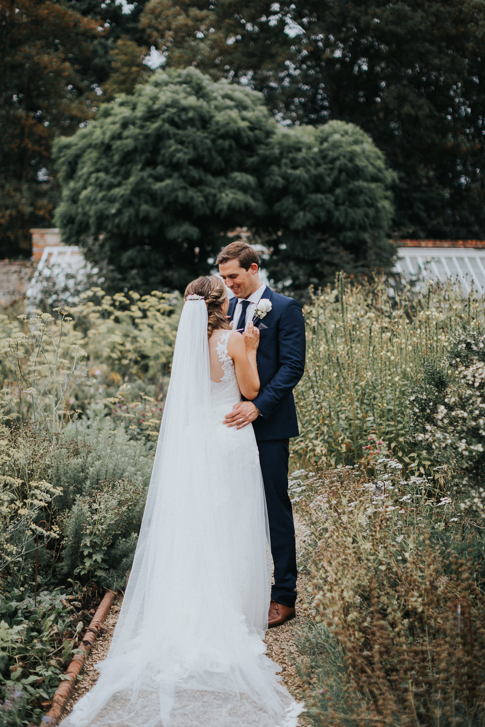 Bride Bridal Sleeveless Embroidered Three Piece Suit Navy Grey Waistcoat Groom Backless Veil Loseley Park Wedding Kit Myers Photography