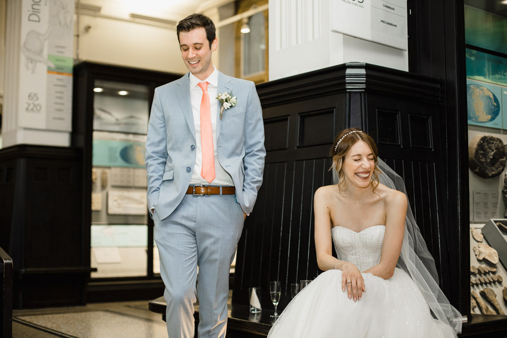 Bride Bridal Watters Sweetheart Neckline A Line Strapless Embellished Veil Blue Grey Ted Baker Suit Groom Peach Tie Manchester Museum Wedding Chris Barber Photography
