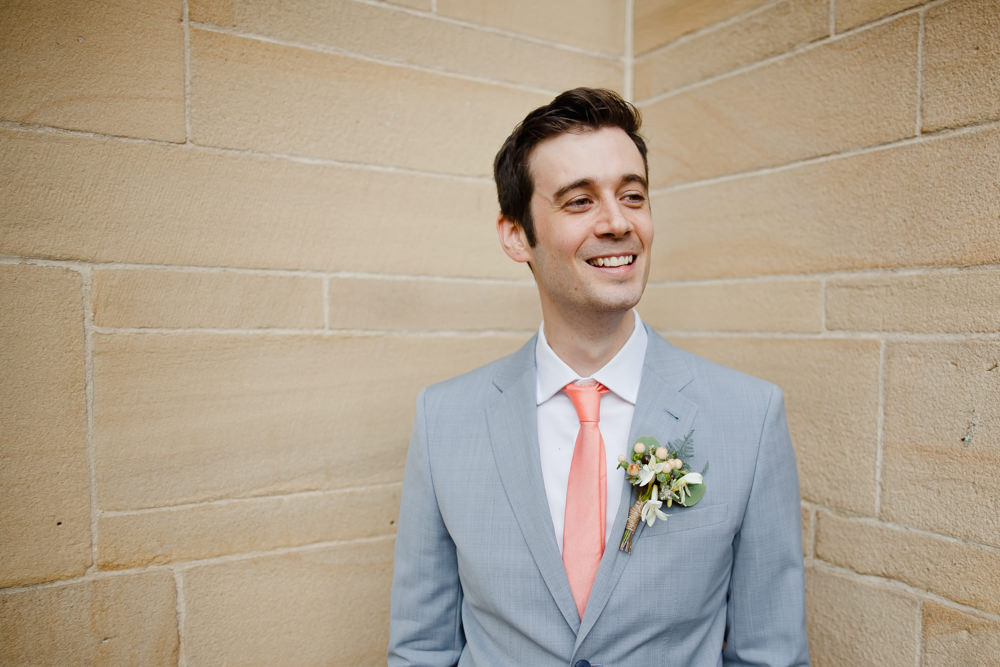 Pale Grey Blue Suit Groom Peach Tie Manchester Museum Wedding Chris Barber Photography