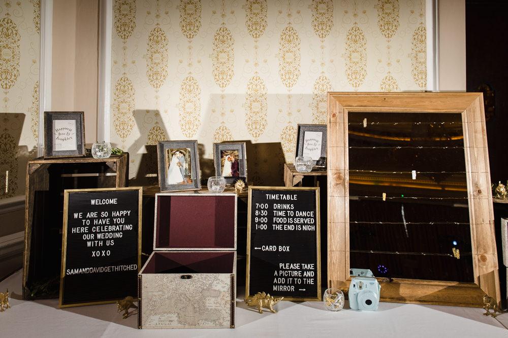 Timeline Peg Board Cinema Lettering Photographs Guest Book Manchester Museum Wedding Chris Barber Photography