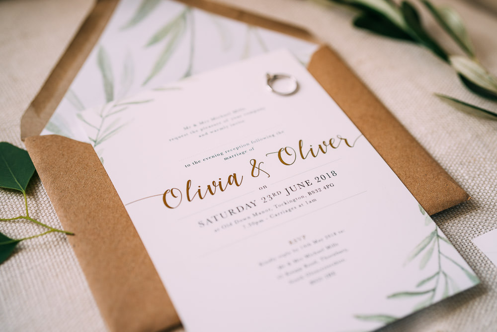 Botanical Modern Stationery Invite Invitations Old Down Estate Wedding Albert Palmer Photography