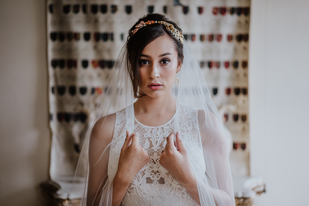 Bride Bridal Dress Gown High Neck Straps Veil Pylewell Park Wedding New Forest Studio