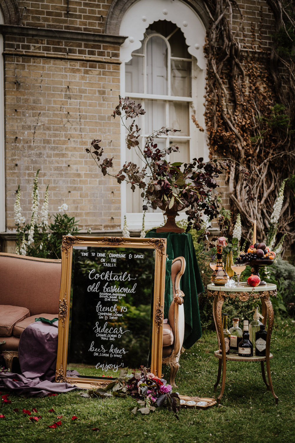 Mirror Calligraphy Board Sign Pylewell Park Wedding New Forest Studio