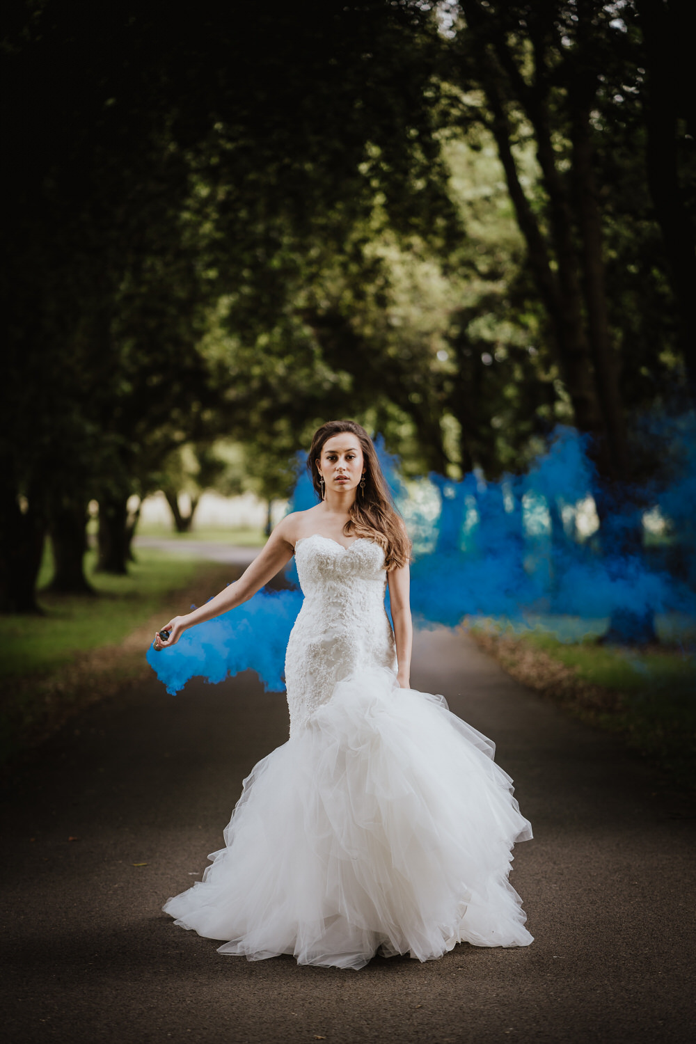 Smoke Bomb Bride Bridal Dress Gown Fit Flare Lace StraplessPylewell Park Wedding New Forest Studio