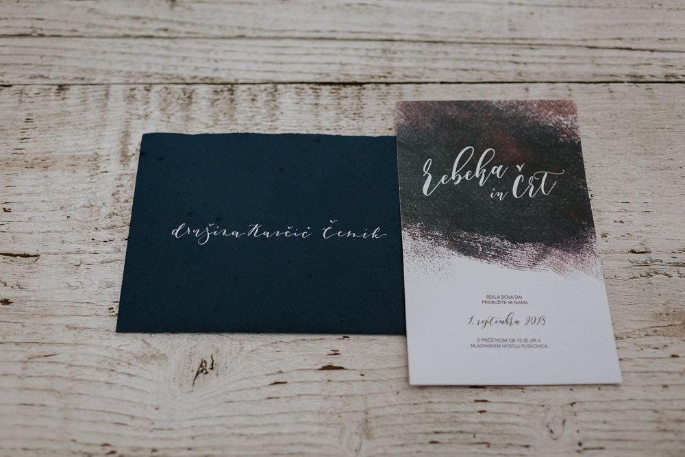 Calligraphy Watercolour Stationery Invite Invitation Slovenia Wedding Bohemian Maja Tsolo Photography